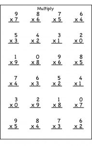 Multiplication worksheet for 3rd grade 001