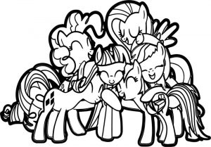 My little pony friendship group hug coloring page