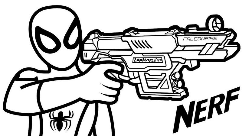Nerf Gun Hold By Spiderman Coloring Page - Coloring Sheets