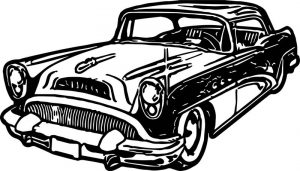 New car vintage antique coloring page