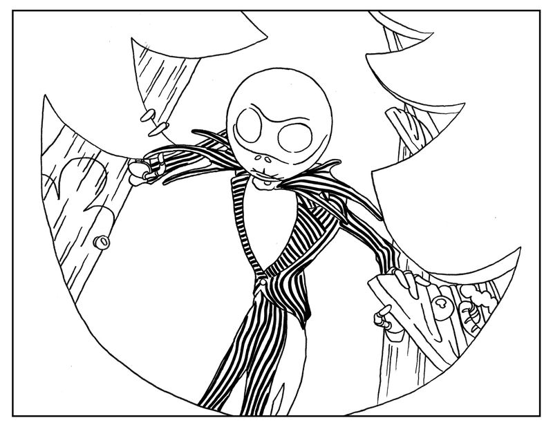 Nightmare Before Christmas Adult Coloring Book Page