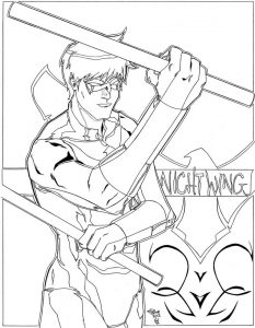 Nightwing coloring pages for kids