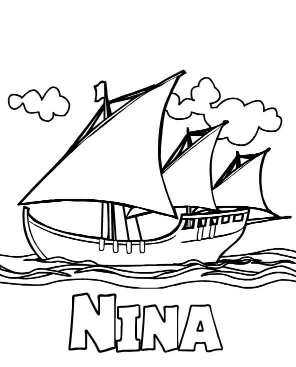 Nina Columbus Day Coloring Pages