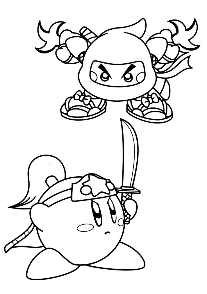 Ninja Kirby Coloring Pages 001