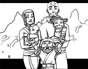 Not the last airbender aang and katara s family fierystampede dokfvq avatar aang coloring page