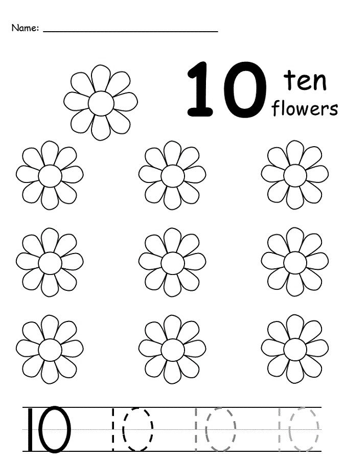 Number 10 Worksheet Flower