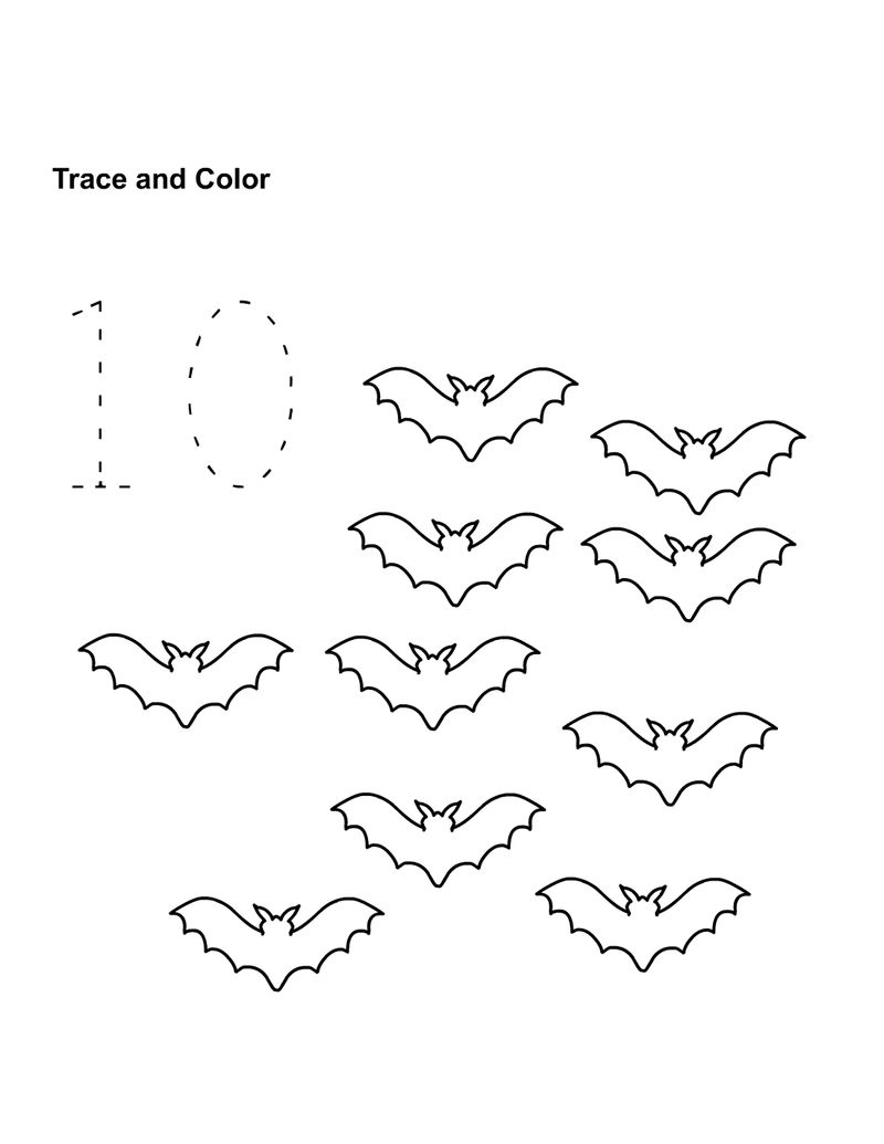 Number 10 Worksheet Trace And Color