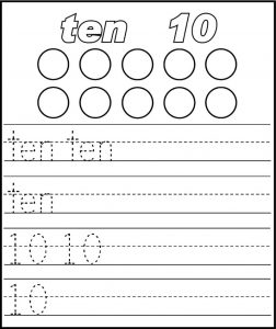 Number 10 worksheets preschool