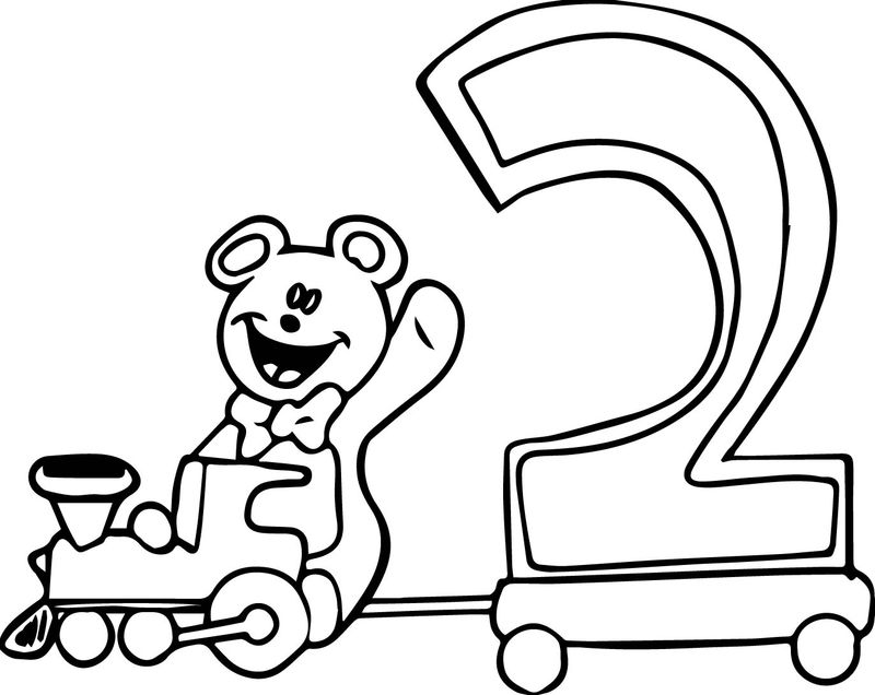 Number 2 Bear Toy Coloring Page