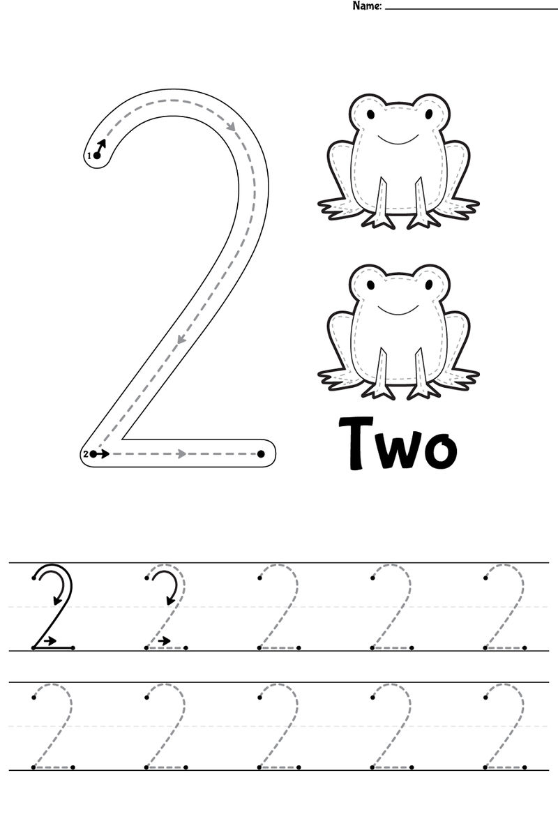 Number 2 Trace Printable