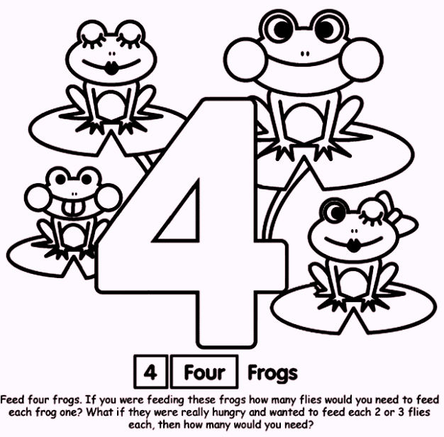 Number 4 Four Coloring Pages For Toddlers
