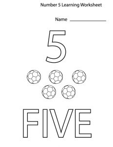Number 5 worksheet for kids