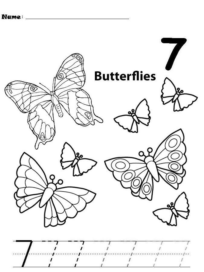 Number 7 Worksheets Butterfly