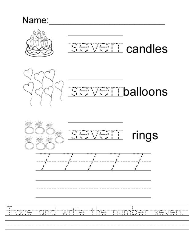 Number 7 Worksheets Trace
