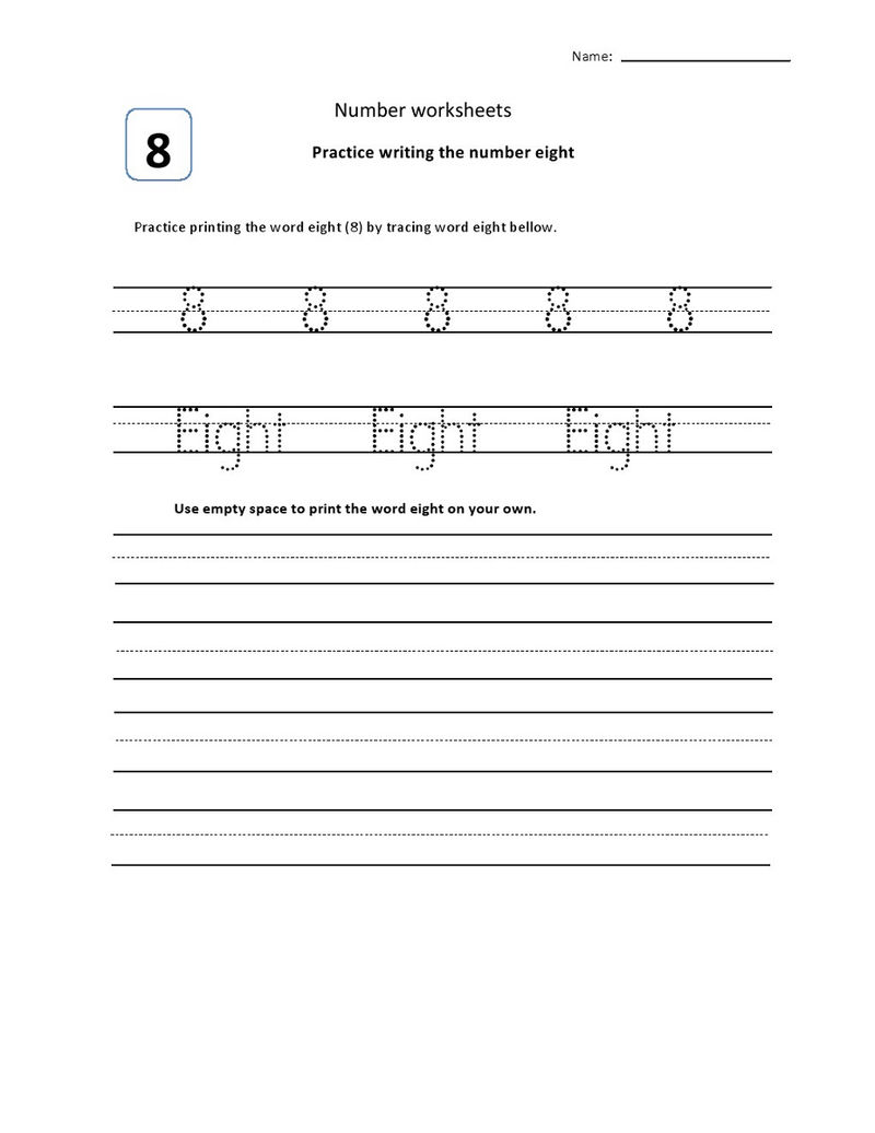 Number 8 Worksheets Trace