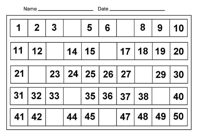 Number Chart 1 50 For School
