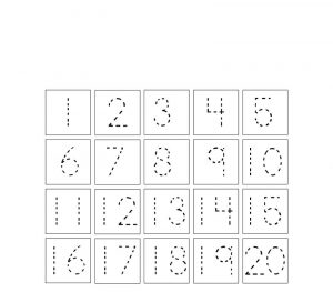 Number tracking worksheet 1 to 20 for kids