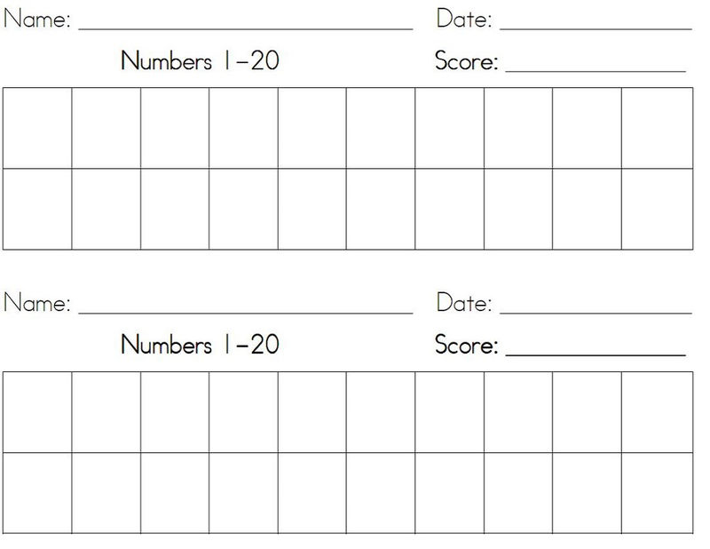 Numbers 1 20 Worksheets Activity