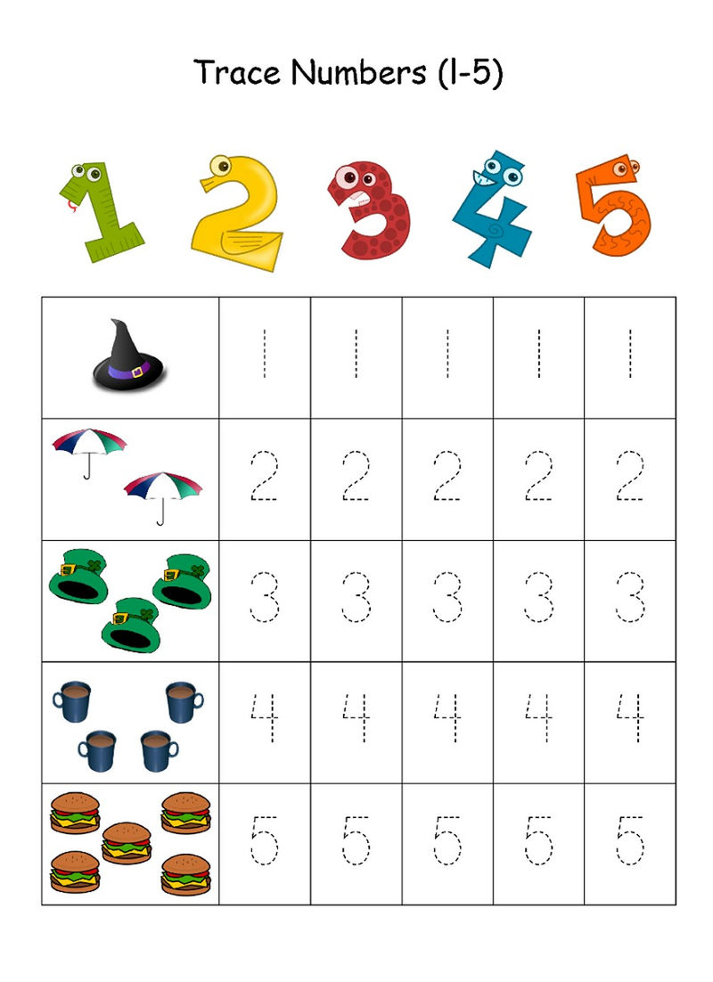 Numbers 1 5 Traceable For Kids