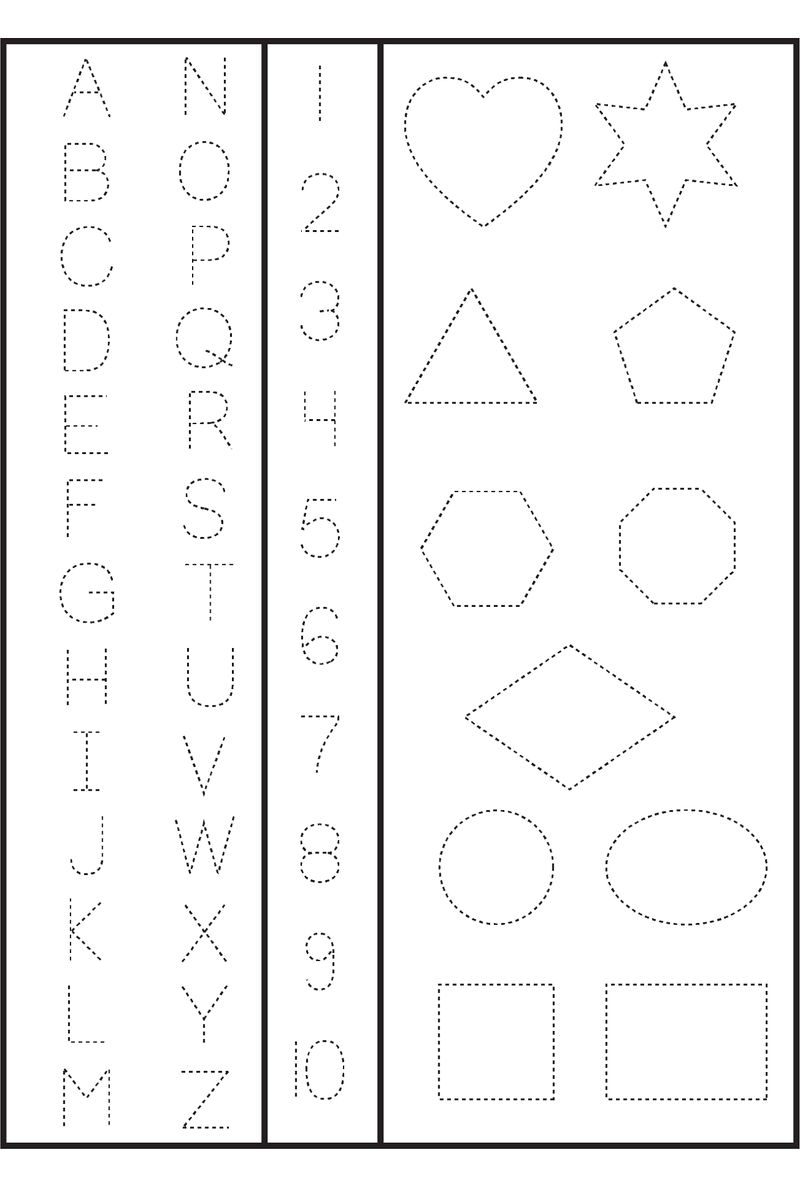 Numbers And Shapes For Tracing