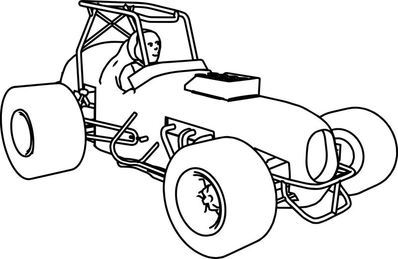Old Fast Race Car 2 Coloring Page