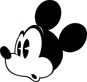 Old mickey mouse face shock coloring page