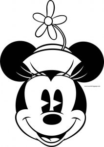 Old minnie mouse happy face coloring page