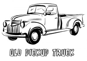 Old pickup truck coloring sheet