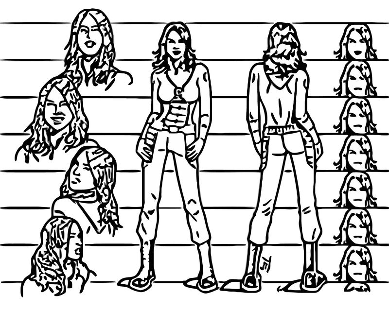 Olivia Munn Character Design Cartoonize Coloring Page