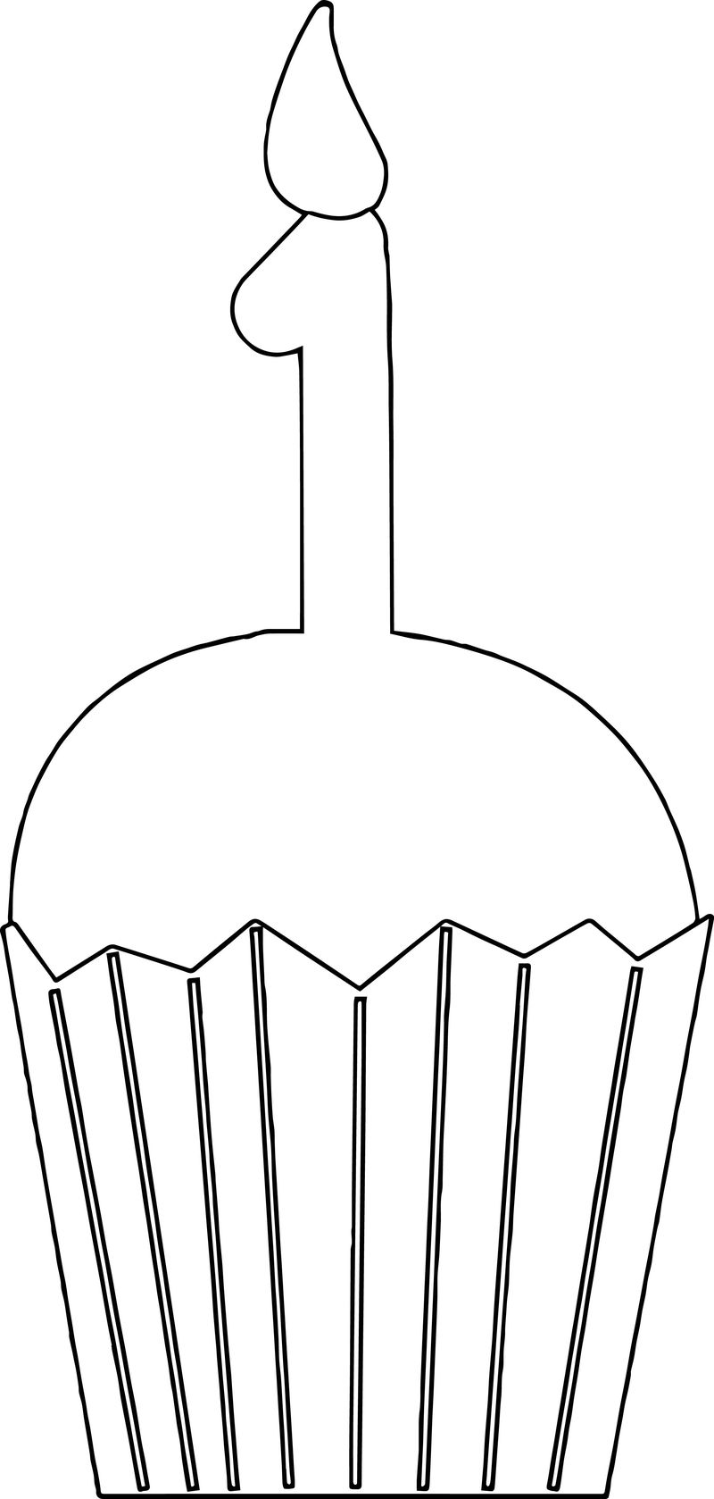 One Birthday Cupcakes Coloring Page
