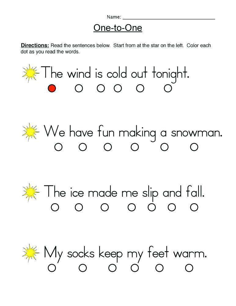 One To One 1st Grade Reading Worksheets