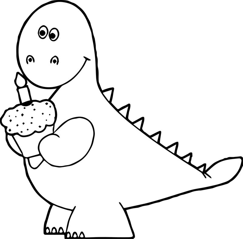 Orange Dinosaur Birthday Cupcake Coloring Page