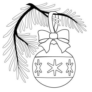Ornament on a christmas tree coloring pages
