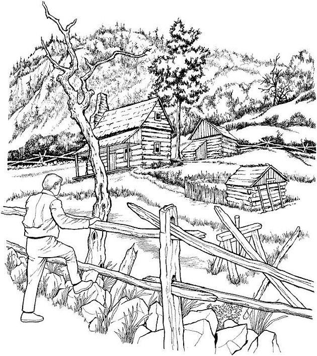 Outdoor Fall Coloring Pages For Adults