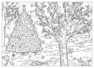 Outdoor winter scene coloring page for adults
