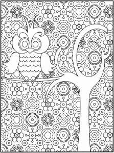 Owl design coloring page for adults