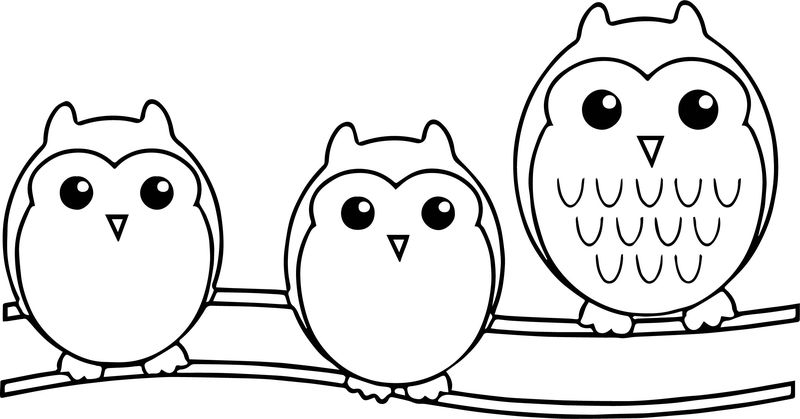 Owl Family Cute Family Coloring Page