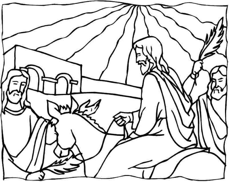 Palm Sunday Bible Coloring Pages Jesus Returns