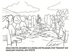 Palm sunday coloring lesson sheet