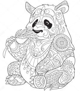 Panda eating bamboo zentangle coloring page