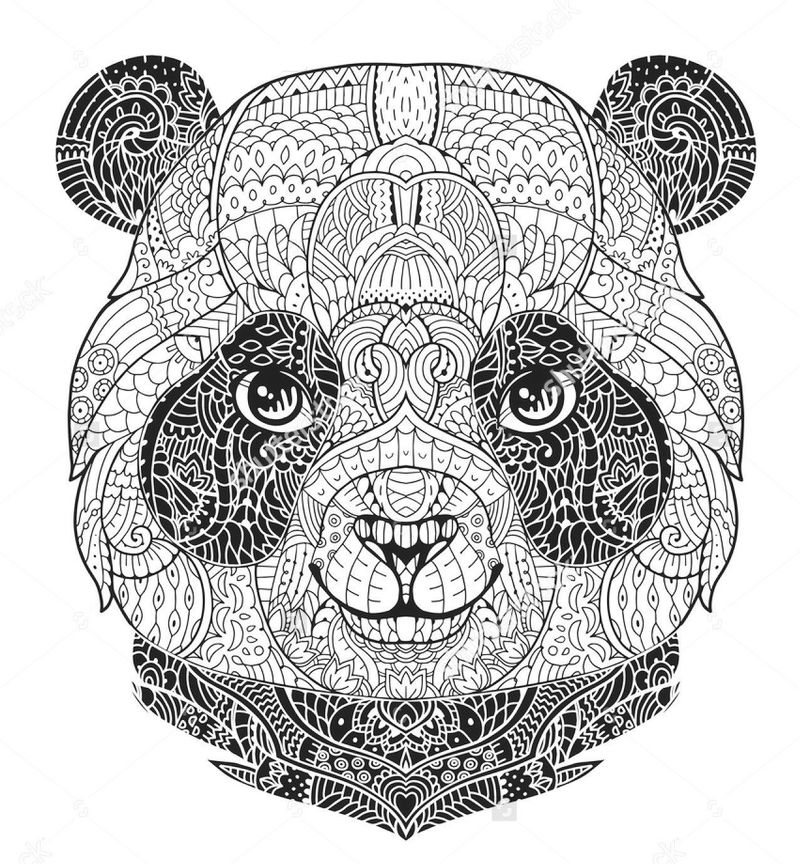 Panda Face Coloring Page For Adults