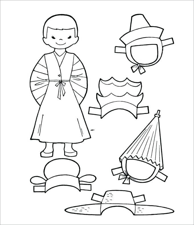 Paper Doll Coloring Page 001