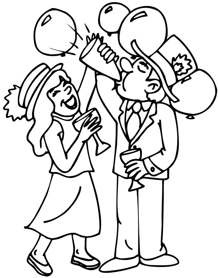 Party Happy New Year Coloring Page