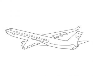 Passenger airplane coloring page