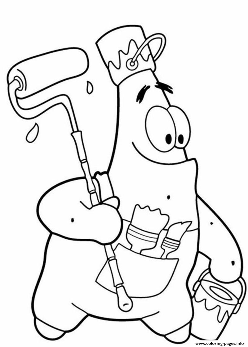 Patrick Painting Spongebob Coloring Pages