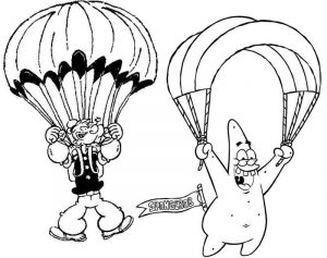 Patrick spongebob and popeye flying parachute coloring page