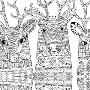 Pattern reindeer coloring page for adults