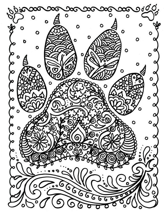 Paw Art Dog Coloring Page For Aduts