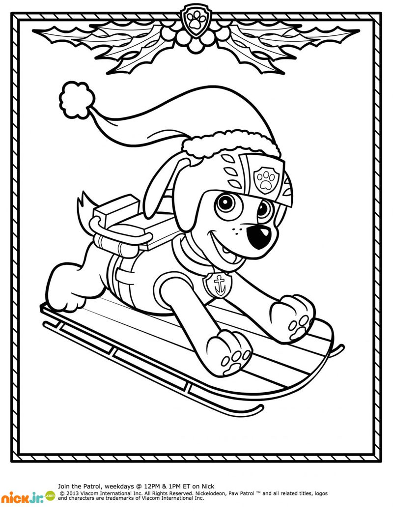 Paw Patrol Christmas Coloring Pages - Coloring Sheets