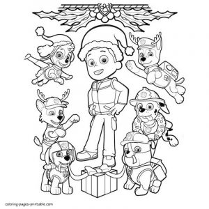 Paw patrol christmas coloring pages 1